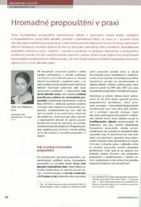 Hromadné propouštění v praxi - článek Alice Mlýnkové, advokátky LTA, v odborném periodiku Práce a mzda